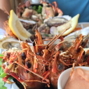 Seafood boat in Nazare Portugal